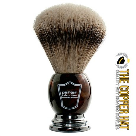 Parker Faux Horn Handle Silvertip Badger Shaving Brush