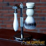 Chrome Double Edge Razor and Shaving Brush Stand