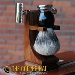 Mission style wood double edge razor and shaving brush stand