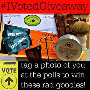 A giveaway encouraging people to vote in the 2015 Canadian Federal Election