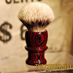 Crimson Slate Grey Layer Up Silvertip Badger Shaving Brush handcrafted at The Copper Hat