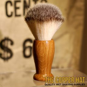 Garry Oak Synthetic Nylon Shaving Brush handcrafted at The Copper Hat