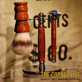 Lacewood Synthetic Nylon Shaving Brush Double Edge Razor Stand Set handcrafted at The Copper Hat