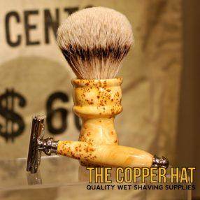 Yellow Cedar Burl Grade A Silvertip Badger Shaving Brush Double Edge Razor Stand Set 2