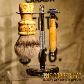 Yellow Cedar Burl Grade A Silvertip Badger Shaving Brush Double Edge Razor Stand Set handcrafted at The Copper Hat