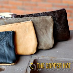 Handcrafted reclaimed leather zip pouch 2