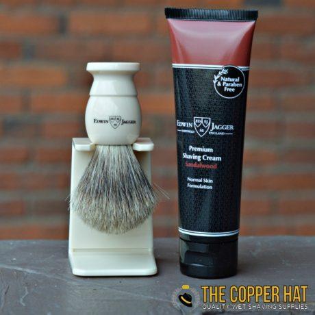 edwin-jagger-imitation-ivory-best-badger-shaving-brush-sandalwood-shaving-cream