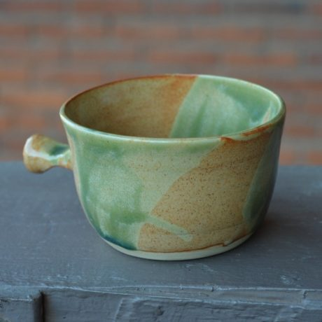 Mint Green & Orange Handcrafted Lathering Bowl 1