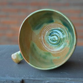 Mint Green & Orange Handcrafted Lathering Bowl 2