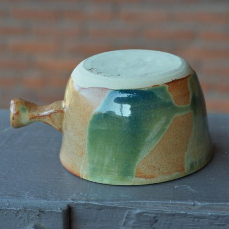 Mint Green & Orange Handcrafted Lathering Bowl 3