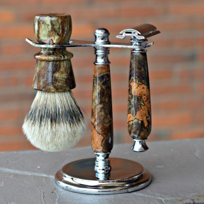 Moss Green Dyed and Stabilized Spalted Maple Burl Stand Set
